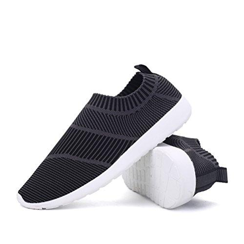 T & Mates Mens Slip-ons Elastiska Komfort Stickad Vamp Mode Sneakers För Idrott Promenader Exerices Svart