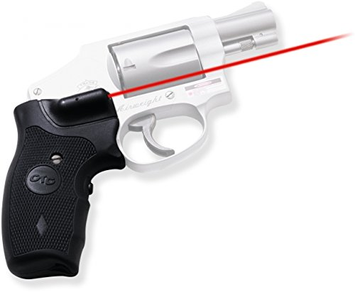 Crimson Trace Lasergrip for Smith and Wesson J-Frame Round Butt, Black, Rubber Overmold Grip with Front - Overmold Grips