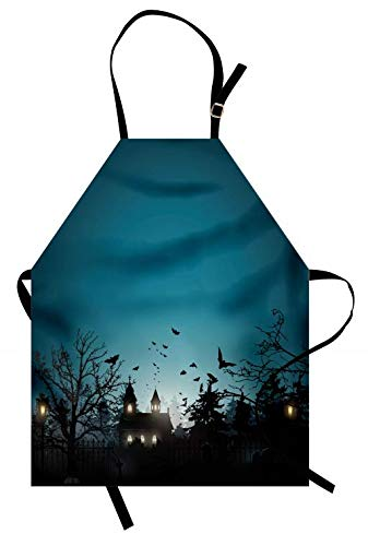 Lunarable Halloween Apron, Gothic City and Graveyard at Halloween Night Dark Horror Bats, Unisex Kitchen Bib Apron with Adjustable Neck for Cooking Baking Gardening, Petrol Blue and Charcoal -