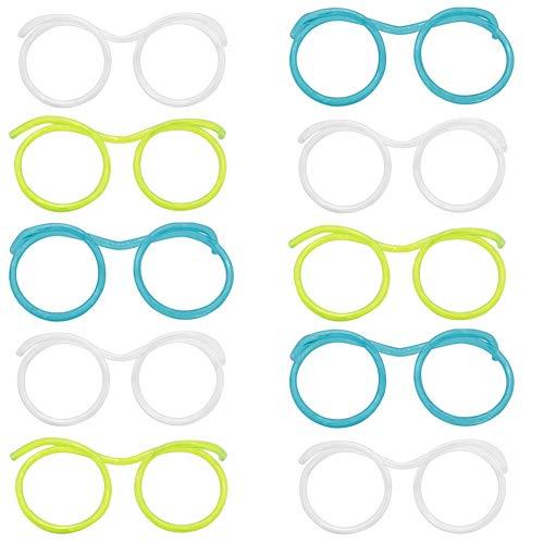 SANGAITIANFU 10 Pcs Funny Party Drinking Straw Eye Glasses Creative Soft Tube Kids Birthday Party Gifts Plastic Straw (Straw Eyeglass)