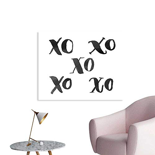 Xo Decor Wallpaper Sticker Hugs and Kisses Letters Written Classic Old Fashion Calligraphy Romance Print Decor Mural for Home W36 xL32