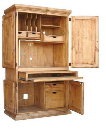 - RR Rustic Western Wall Computer Armoire