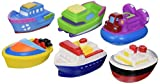Elegant Baby Bath Time Fun Rubber Water Squirties Vinyl Zip Storage Bag, Boat Party, Set of 6
