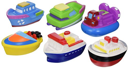 Elegant Baby Bath Time Fun Rubber Water Squirties Vinyl Zip Storage Bag, Boat Party, Set of 6 by Elegant Baby