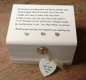 Shabby Personalised Chic Jewellery Box Step Mother Of The Bride Or Groom Wedding Gift