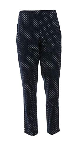 Isaac Mizrahi 24/7 Stretch Print Solid Ankle Pants Navy Polka Dot 16 New A302696 from Isaac Mizrahi Live!