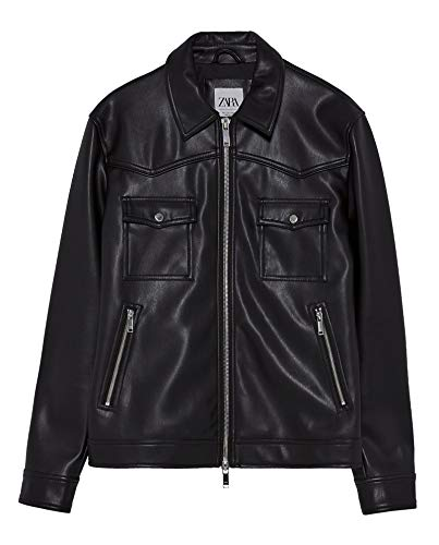 Zara Men Faux Leather Jacket 0706/495 (Small) Black for sale  Delivered anywhere in USA