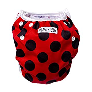 Washable Adjustable Swim Diapers, Baby Reusable Swim Diaper (Ladybug)