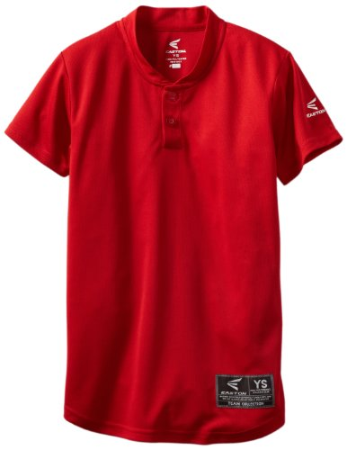 Easton Jersey Baseball - Easton Youth Skinz 2 Button Placket Jersey, Red, Small