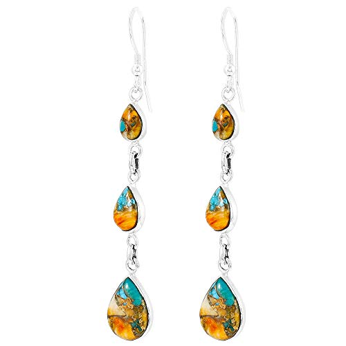 (Spiny Oyster Turquoise Earrings in 925 Sterling Silver (Select style) (Teardrops Galore))