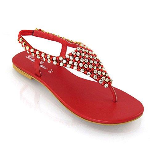 Dressy Womens Pearl Sandalo 5 Diamante 3 8 38 Party Ladies Taglia Toe Eu Post uk Holiday Flat Red IXfnwqz6q0