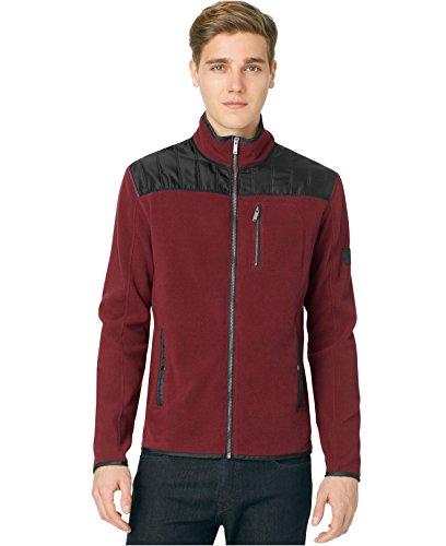 Calvin Klein Jeans Men's Nylon-Trim Fleece Jacket (Large, Bordeaux) by Calvin Klein