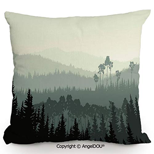 AngelDOU Throw Pillow Cotton Linen Pillow Cover and Inserts,The Panorama of a Valley and a Mystic Forest of Pine Trees,Modern Home Office Sofa Bed Nice Decor.13.7x13.7 inches