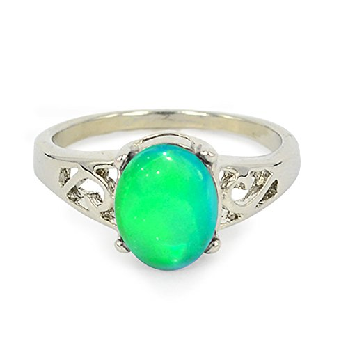 Fun Jewels Classic Silver Color Plating Multi Color Change Oval Crystal Stone Emotion Feeling Mood Ring
