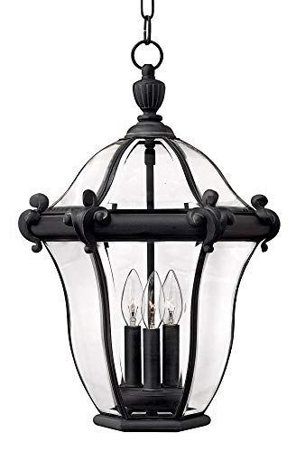 (Hinkley 2442MB Traditional Three Light Hanging Lantern from San Clemente collection in Blackfinish,)