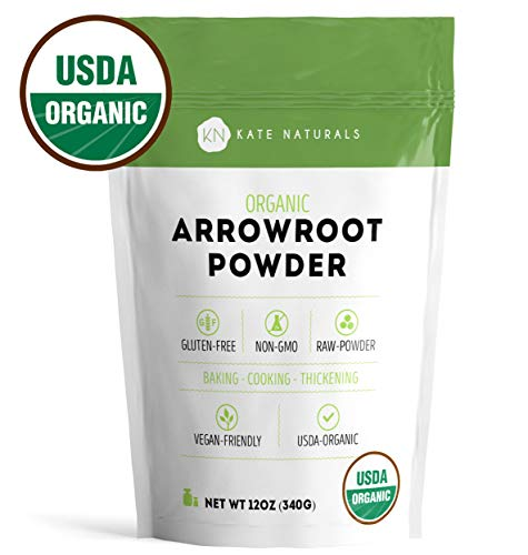 Arrowroot Flour Organic - Kate Naturals. Perfect For Baking, Cooking, Thickening Sauces and Gravy. Good for Dry Shampoo and Deodorant. Resealable Bag. Gluten-Free and Non-GMO. 1-Year Guarantee (Lb 1 Arrowroot Powder)