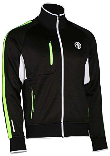 Polo Ralph Lauren Sport Men's Full Zip Mock Neck Jacket-Black/NeonGrn/Wht-Large