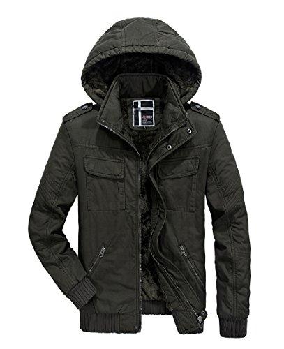 RongYue Men's Winter Thicken Coat Fleece Parka Jacket With Removable Hood (Customized Fleece Jackets)