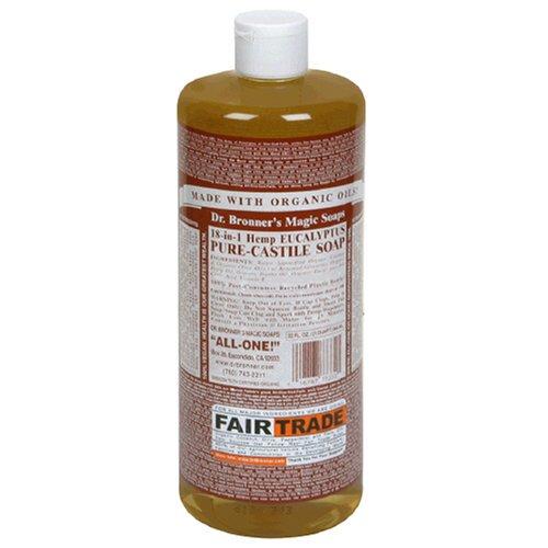 Dr. Bronner's Magic Soaps Pure-Castile Soap, 18-in-1 Hemp Eucalyptus, 32-Ounce Bottle -
