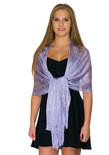 Shawls and Wraps for Evening Dresses, Wedding Shawl Wrap Fringes Scarf for Women Lilac Light Purple Petal Rose