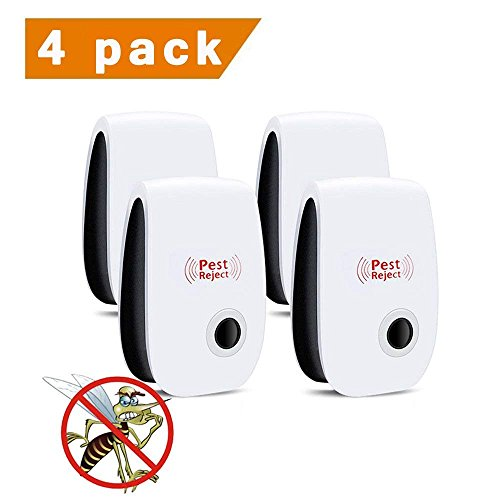 Amuoc Ultrasonic Pest Repeller, Home Pest Control Repellent Plug in Electronic Nontoxic Insects and Rodents Reject for Mosquito, Mouse, Cockroaches,Rats, Bug, Ant, Flies-4Pack (Updated version)