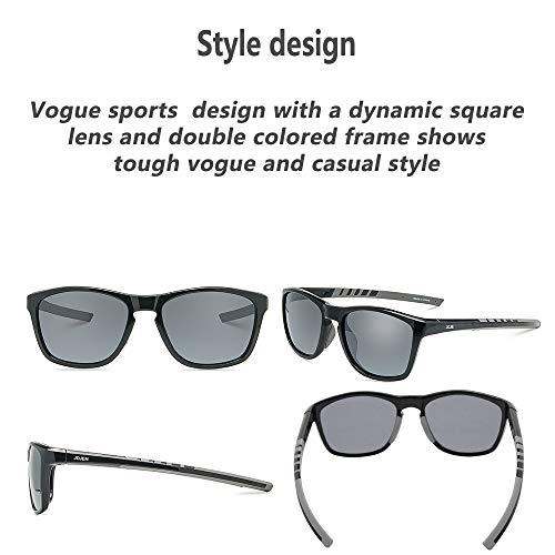 JOJEN Polarized Sports Sunglasses for Men Women Baseball Running Cycling Fishing Golf Tr90 Ultralight Frame JE001(Black Frame Grey Lens)