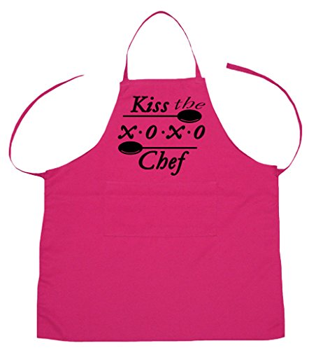 Petitebella Kiss the XOXO Chef Polyester Kitchen Apron for Adult (Hot Pink)