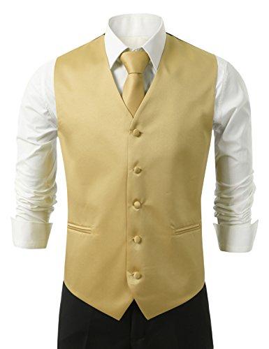 IDARBI for MEN 3 Piece Set Solid Formal Tuxedo Vest Set Big & Tall Size Available GOLD XL