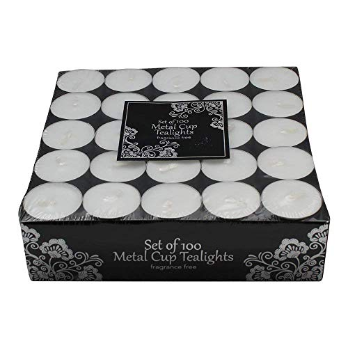 (100 Tea Lights Set - White - Unscented Candles)