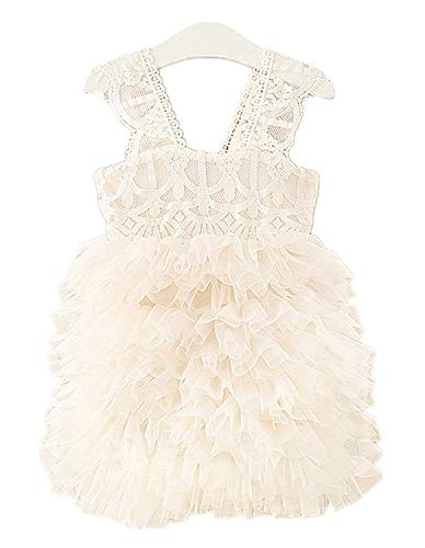 Vintage Ivory Lace - 2Bunnies Girl Baby Girl Vintage Lace Rustic Wedding Flower Girl Tiered Tutu Tulle Ivory Dress (Ivory, 12-18 Months)