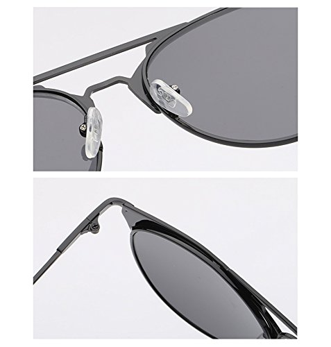rond pilote rétro cadre Hellomiko soleil cadre en Noir de polarisé métal UV400 protection lunettes Mode non 7xCxqwY