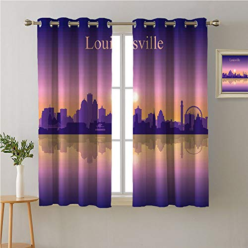 Jinguizi Kentucky Grommets Curtain for Kids Room,City Silhouette Purple with Ombre Effect Sunset in Louisville,Party Darkening Curtains,72W x 45L ()