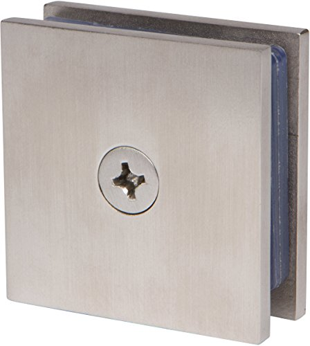 Square Wall Mount Glass Clamp in Brushed Nickel Finish, Durable commercial & residential, door hardware, door handles, locks