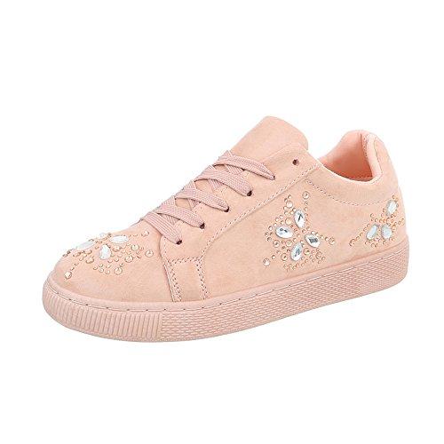Ital-Design Sneakers Low Damenschuhe Sneakers Low Sneakers Schnürsenkel Freizeitschuhe Pink AB-184