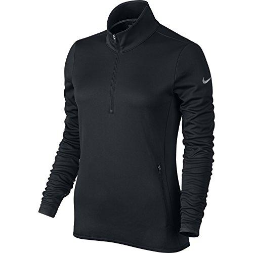 NIKE Women's Thermal 1/2 Zip Top,Black/Black/Wolf Grey, X-Sm