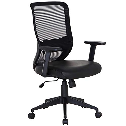 VECELO Home Office Chair with PU Padded Seat Cushion, Adjustable Armrest Seat Height Back Cushion, Lumbar Support for Task / Desk Work - Black