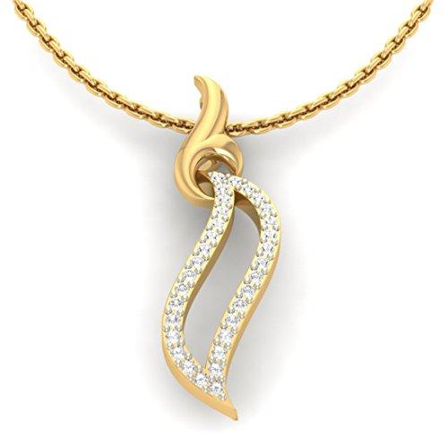 14K Or jaune 0,16CT TW Round-cut-diamond (IJ | SI) diamant Pendentif