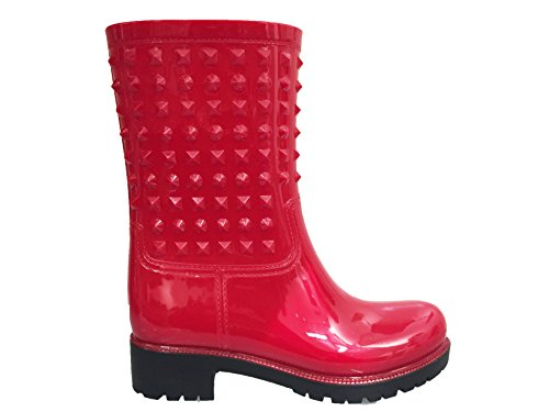 Rain Waterproof Snow Boot OwnShoe Midcalf Wellies Red Rubber Rainboots Studded Womens Flat OZwwqtX