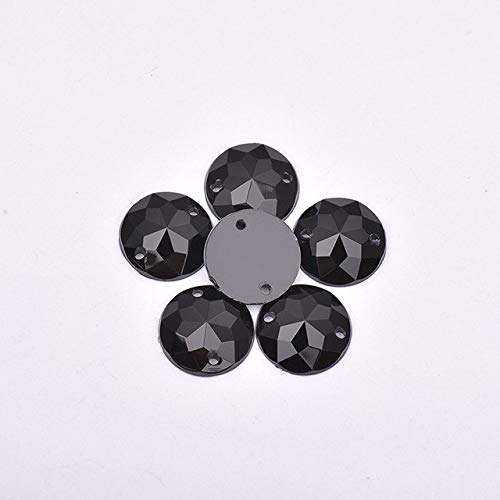 ASTONISH Junao 10 mm Cristales de costura Borrar AB diamantes de imitaci/Ã/³n de la Ronda Gems espalda plana de piedra Granos En cosidos para 500pcs Costura de ropa Negro