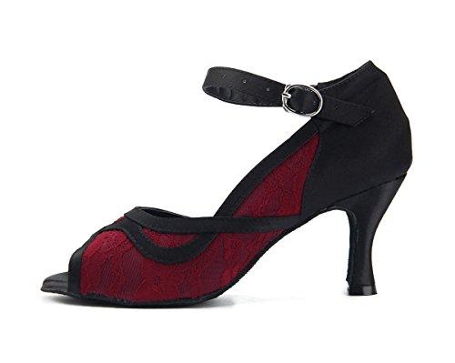 Latin 5cm Girls Red 7 Satin Heel Lace Miyoopark Heel Sandals Flared Women's Dance 1wqdnPY