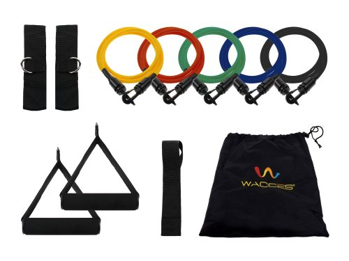 Wacces New Wall Mounted Chin Up Pull Up Push Up Bar + 5 Resistance Bands for Body Building, exercises, six packs