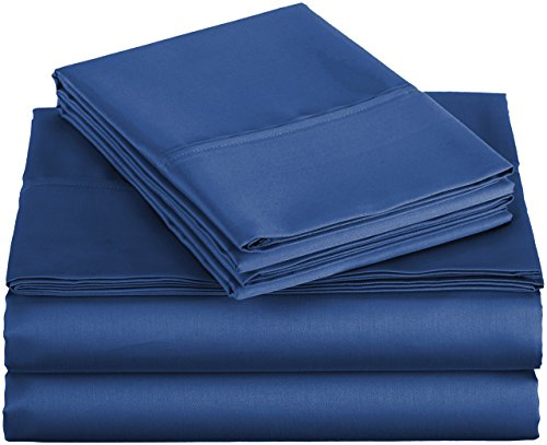 AmazonBasics 400 Thread Count Sheet Set, 100% Cotton, Sateen Finish - Full, Navy
