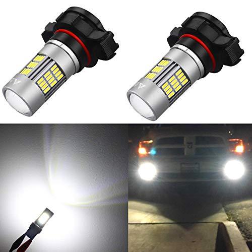 2016 Jeep Cherokee Replacement - Alla Lighting Super Bright 2504 PSX24W LED Fog Lights Bulbs 4014 54-SMD LED PSX24W 2504 Fog Light Bulb 6000K Xenon White 2504 12276 PSX24W LED Bulbs for Cars Trucks Fog Lights Replacement (Set of 2)