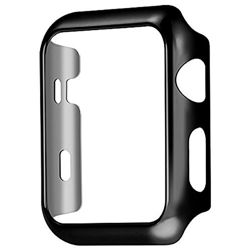 Apple Watch Series 1 Case 38/42mm, Yimer Full Cover Slim Hard PC Plated Protective Bumper Shockproof Sheld Guard Screen Protector Cover (42MM, Black)