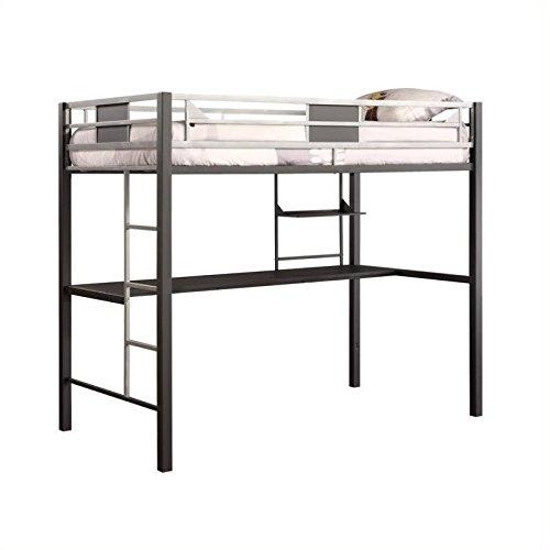 Pemberly Row Metal Twin Loft Bed in Black with Desk