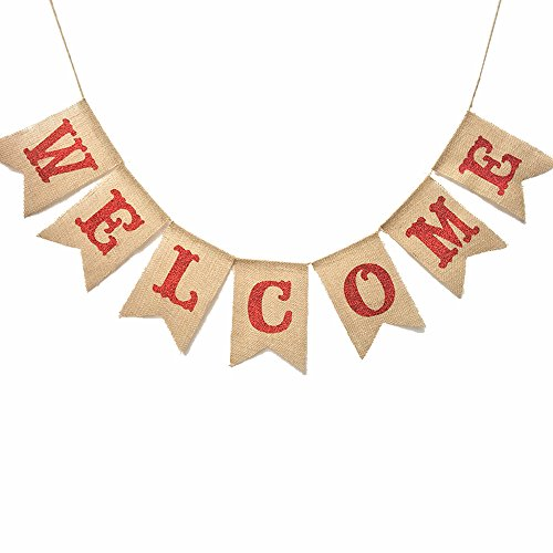 Uniwish Welcome Burlap Banner Wedding Party Home Decorations, Vintage Rustic Bunting Signs Décor for Family, Red Letters