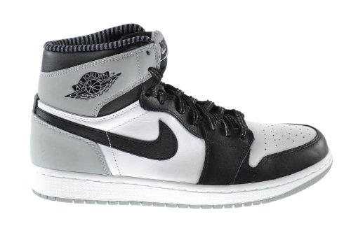 Trainers Nike White 1 Jordan Air Mens Grey wolf black Mid Leather xwCZTqw6