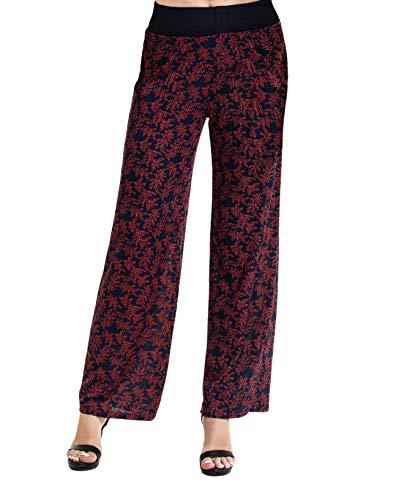 Aifer Women's Comfy Casual Pajama Pants Floral Print Lounge Drawstring Palazzo Long Wide Leg Pants (Medium, Wine Red)
