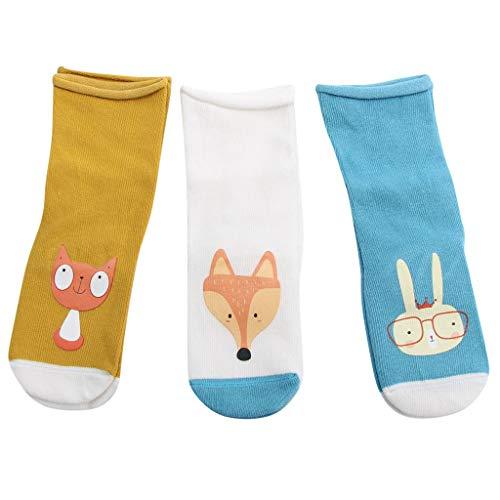 3Pairs G-real Toddler Cartoon Cat Fox Animal Floor Socks Anti-Slip Step Socks