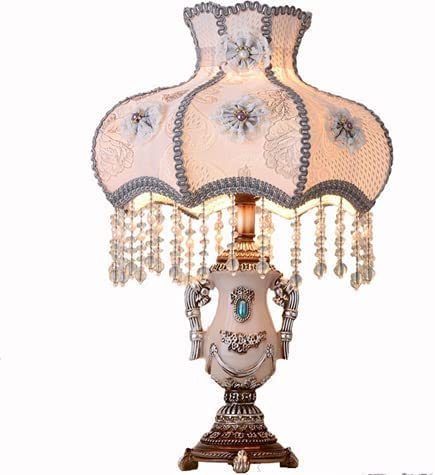 To Buy Classical Tiffany European Style Table Lamp,Retro Fabric Bedside Lamp Handmade Princess Victorian Style Creative Spherical Resin Lamp Body Desk Lamp